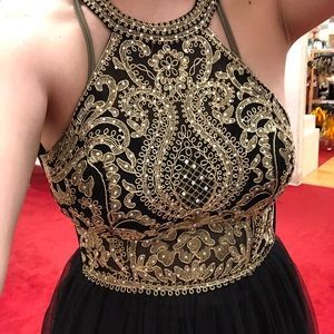 Black & gold ball gown-prom dress
